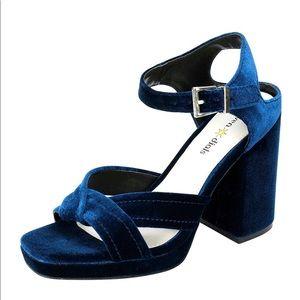 Seven dials blue velvet heels